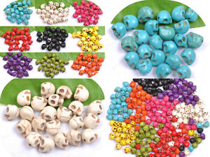 TURQUOISE-CARVED-SKULL-Spacer-Loose-BEADS-Charms-JEWELRY-MAKING-FINDINGS