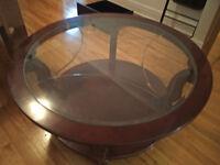 Table de salon en bois de qualité supérieur avec vitre