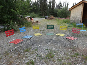 Vintage (almost antique) folding garden/patio chairs Yukon image 1