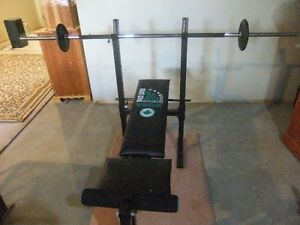 York 200 Folding Bench and Weights