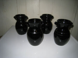 4 Black Amethyst Urn Vases