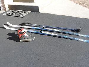 back country skis, boots, bindings and poles