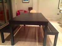 Extendable dining table & benches