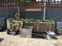 Vintage garden pots tanks metal galvanised enamel bird bath fire pits