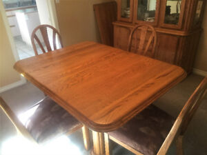 Oak Dining Table, 6 Chairs, and China Cabinet