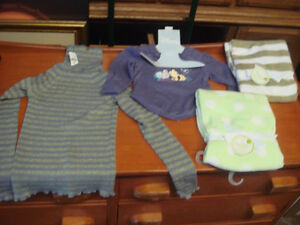 girls top , baby top and 2 baby blankets