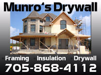 Professional Drywall, Taping, Framing, Insulation and Painting