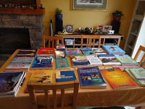 medical text books and flashcards