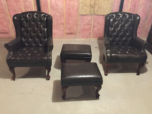 Office baroque chairs and ottomans - set of 2