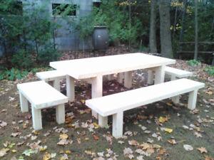 alaska yellow cedar table and bench