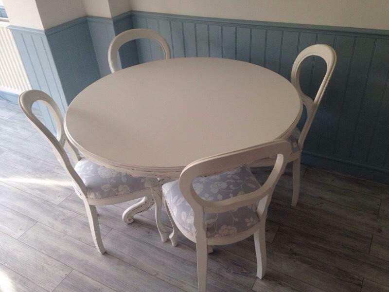 Hand painted round table and balloon back chairs shabby for Painted round dining table and chairs