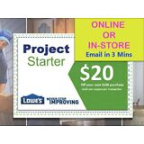 Two(2x) Lowes $20 Off Discount- Lowe's expiry 2/24/18