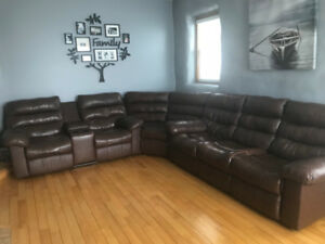 Sectional leather power recliner couch set