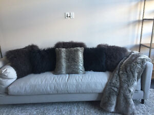 Urban barn - fur  pillows & throw for bedroom or couch