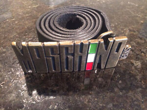 Moschino Jeans Cow Black Leather Size 95 -100% Authentic