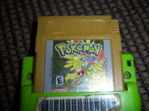 Green Gameboy Color With Pokemon Gold + Blue Gameboy Advance SP