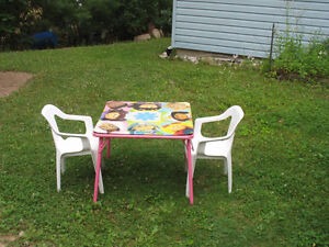 Cabbage patch folding table and two sturdy resin chairs
