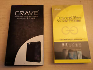 iPhone 7 Plus Black Case and Tempered Glass Protectors - NEW