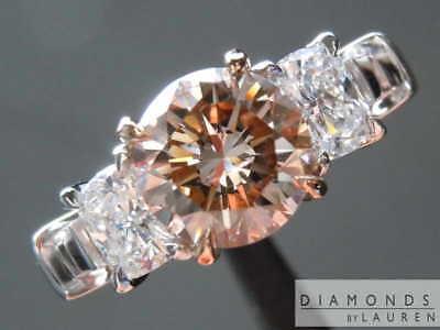 1.61ct Fancy Pinkish Brown Round Brilliant Diamond Ring R7684 Diamonds By Lauren
