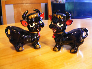Vintage Red Clay Black Cow Salt and Pepper Shackers