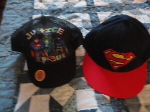 2 New Hats w/ Tags Superman & Justice League