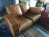 Leather Art Deco style 2 seat Sofa from a smoke free home. Good condition.