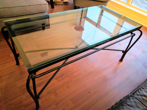 Glass Coffee Table and 2 Matching Side Tables - $175