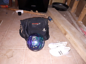 10 pin Bowling ball with carry bag and new shoes