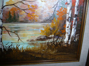 """Charming Roy Robson """"By The Birches"""" Original Oil Painting 1989 Stratford Kitchener Area image 5"""