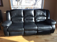 TORENO All Leather Reclining Couch and Loveseat