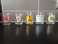 Set of 25 Retro Branded Whisky Glasses
