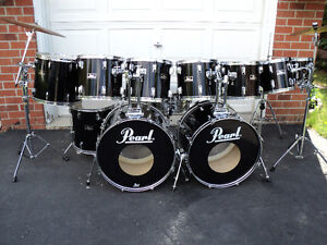 11 pc. Pearl Export drums, Sabian cymbals, hardware, new heads!