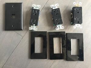 Black receptacles & screwless wall plates