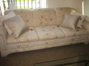 COUCH AND LOVESEAT-BEIGE PATTERNED