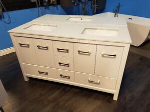 "60"" Solid Wood Vanity with Quartz Top, Double sink - Hot Deal!"