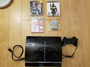 PS3, controller, 4 games