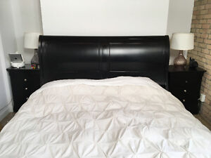 Stanley furniture king size sleigh bed + night tables $700 obo