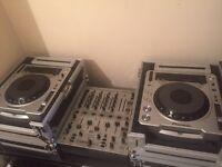 Pioneer 800mk2cdj decks in flightcases & Behringer mixer