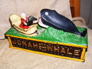 Mechanical Vintage Jonah and the Whale Cast Iron Bank - 1960's
