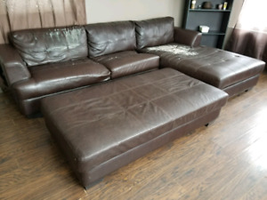 Leather sectional and ottoman