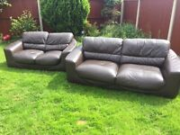 3&2 seater brown leather sofas free locally immediate delivery