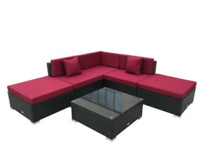 6 piece outdoor patio furniture sectional new conversation set​