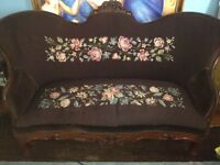 Cute Brown Upholstered Fabric Couch Settee $150