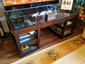 Coffee and 2 end tables wood and glass