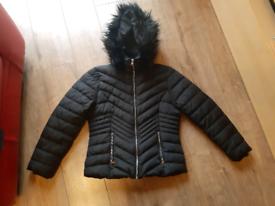 Ladies winter hooded coat size M (12-14)
