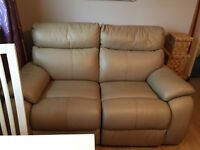 Cream Genuine Leather 3 + 2 Recliner Sofas - Immaculate Condition