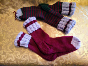 Hand knitted socks - 100% acril. 2 pairs  $15 ea size 8 women