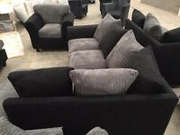 Brand new black / grey chord corner sofa with matching armchair