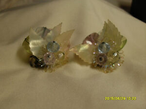 13. Vintage Clipon Earrings - Multi color beaded with leaves