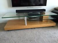 TVs hifi oak glass stand